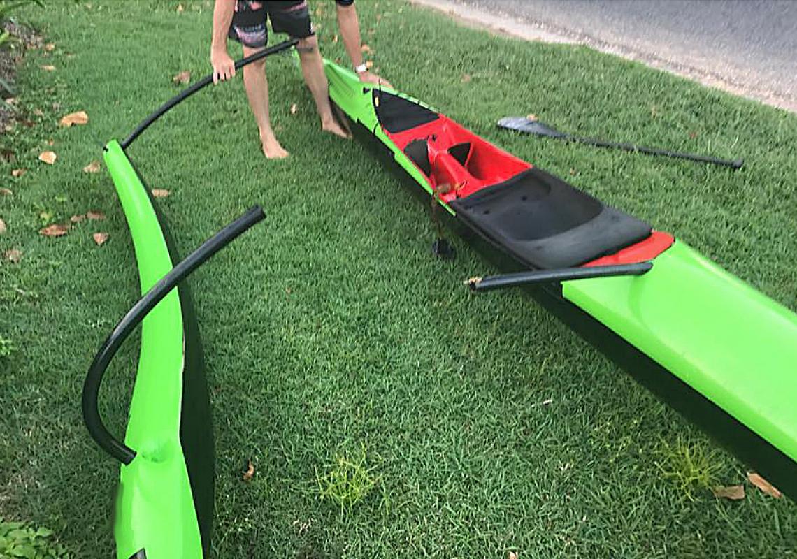Iato carbone tube woo feline oc1 outrigger canoe Pirogue Hawaïenne Pays basque